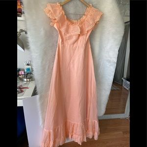 Vintage 70s special order peach maxi dress